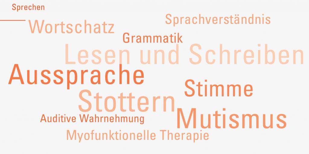 Tag Wolke: Sprechen, Wortschatz, Sprachverständnis, Grammatik, Lesen und Schreiben, Aussprache, Stimme, Stottern, Auditive Wahrnehmung, Mutismus, Myofunktionelle Therapie